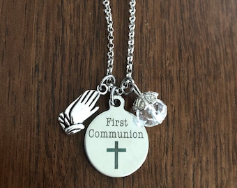 First holy communion gift silver necklace