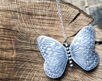 Silver Butterfly necklace, butterfly pendant, handmade nature pendant.