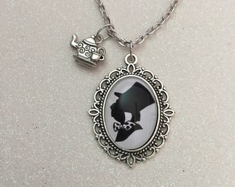 Mad hatter silhouette necklace, mad hatter necklace, alice in wonderland necklace