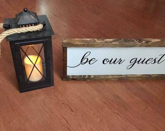Be our guest | Home Decor | Wood Signs | Guest room | Pinterest