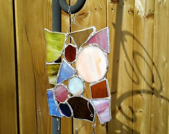 Garden decor - stained glass sun catcher -home decor - glass gift - wind chime - glass art gift - Stained glass - skull bead - skull lover
