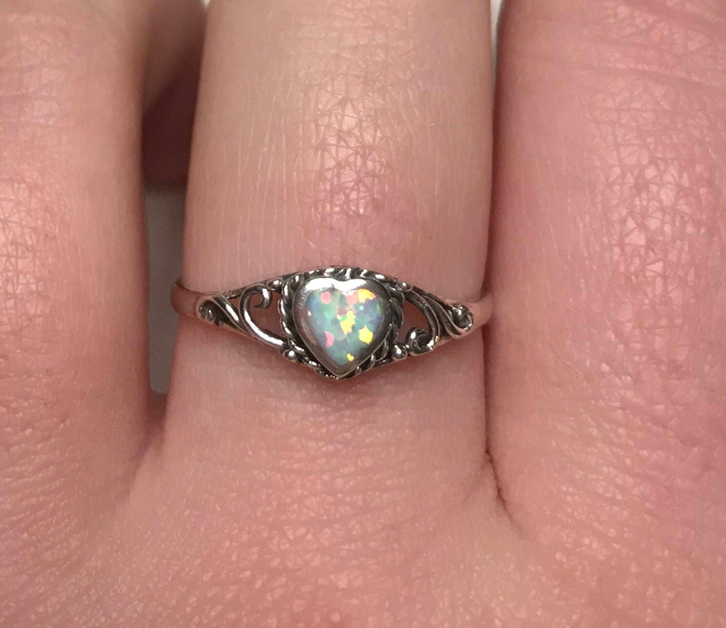 Opal Heart Ring Band Antique Boho Vintage Birthstone Stone Gem