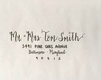 Hand-Lettered / Brush Lettering / Wedding / Invitations / Envelopes / Place Cards