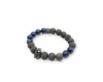 Mens Geode Collection - Dauntless Bracelet - blue tigers eye, mens jewelry, mens bracelet,semi precious stone jewelry, Christmas Gifts, Men