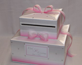 Elegant White-Pink Ombre Wedding Card Box-any colors