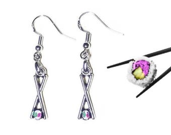California Roll Earrings, 925 Silver Wires, Sushi Chopsticks Rice Pink Green White Lightweight