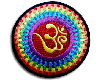 Aum Om Infinity Hindu Hinduism Yoga Indian Trance Patch Embroidered Iron on Sew Badge Biker