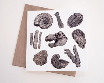 Fossils Art Greeting Card | Any Occasion | Blank Inside