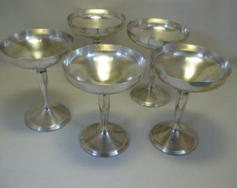 Silver Plate Champagne Sherbet Wine Goblets Qty 5 Plator Made In Spain 1980