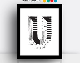 Letter U print - hand drawn typeface