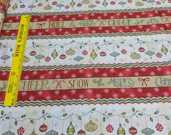 Christmas Whimsey-Striped Cotton Fabric from Red Rooster Fabrics