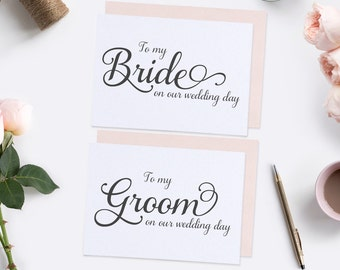 To my Groom card & To my bride card (set) - To my groom on our wedding day - To my bride on our wedding day - Wedding day cards - C001-SET1