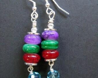 SALE Fiesta - Purple, Green, Red and Blue Sterling Silver Earrings