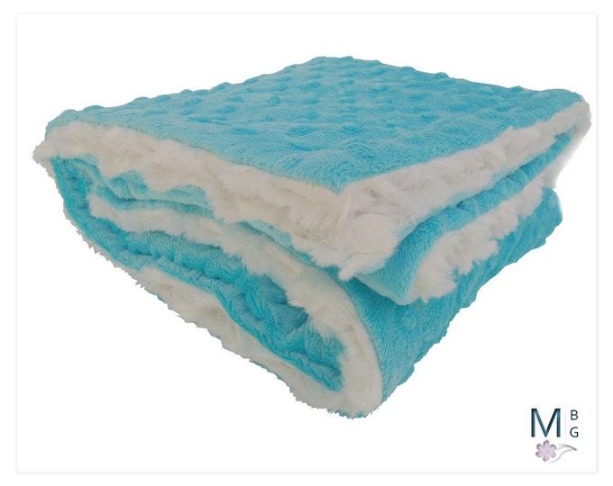 Aqua Turquoise Minky Baby Blanket, Cream and Aqua Minky baby Blanket,