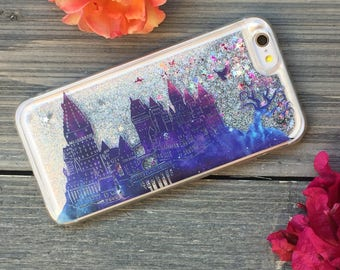 Wizards School Twilight iPhone Castle Case, Silver Glitter. iPhone 5, SE, 6, 6 Plus, 7, 7 Plus, 8, 8 Plus