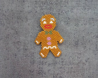 Gingerbread man brooch in miyuki beads hand woven