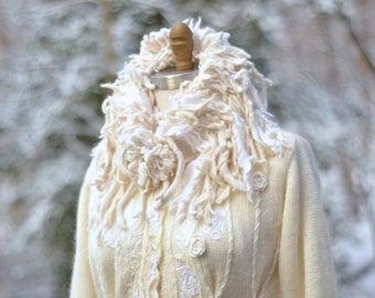 Wedding sweater Coat, boho art to wear fantasy Coat, OOAK refashioned Winter Wonderland, embellished goddess coat. Size M/L. Ready to ship