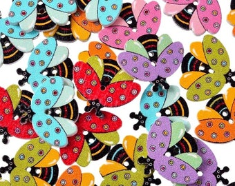 12 multicolored bees painted 2.1 cm - 2 holes wood buttons