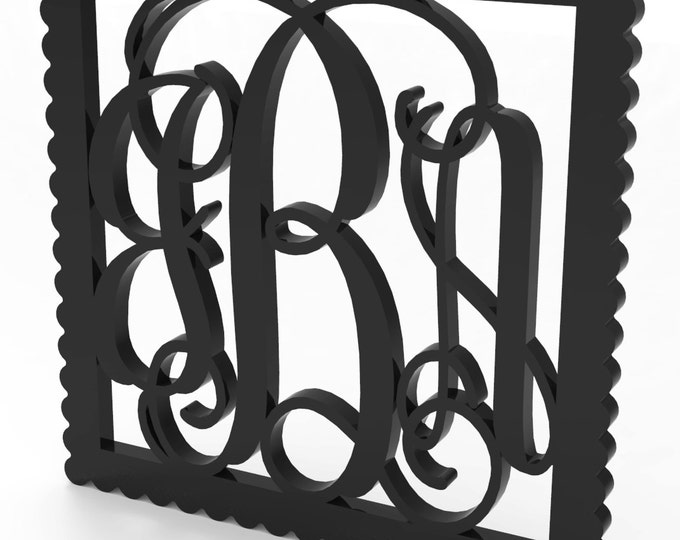 "3 Letter Monogram Door or Wall Hanger w Square Sculpted Wood Frame 11.5"" tall Custom Made."