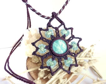 Mandala macrame necklace with amazonite gemstone and aventurine beads, hippie pendant, brown and turquoise