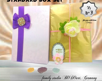 Royal purple box. Luxury card box. Box with a bow and brooch. Thank you card's box. Card box for husband. Card box for dad.Manager card box.
