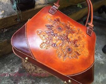 Handmade leather hand bag, womens bag, shoulder bag, gift for mom, leather hand bag, leather shoulder bag, gift for her