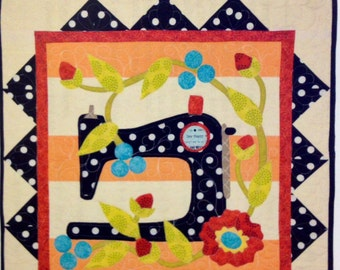 LET'S GO SEW wall hanging pieced/applique quilt pattern Pat Sloan sewing machine