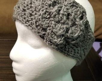 Flower Headband Wrap, Head Wrap, Grey Hat,