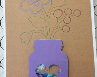 Anytime Card - Mason Jar, Flowers, Hello - Shaker Card - Homemade Card