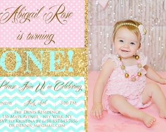 First Birthday Photo Invitation - Pink Turquoise and Gold Glitter Invite -  Photo Birthday Invite - PRINTABLE