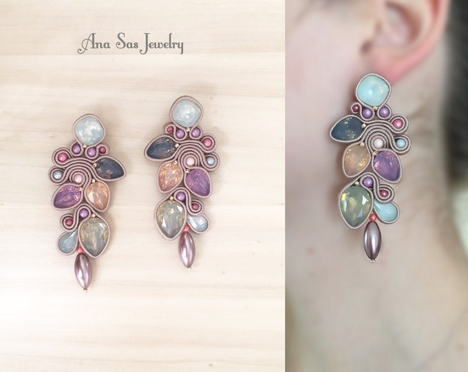 Statement beige,pastel pink and gray soutache earrings, resin and crystal cabochon, Swarovski pearls