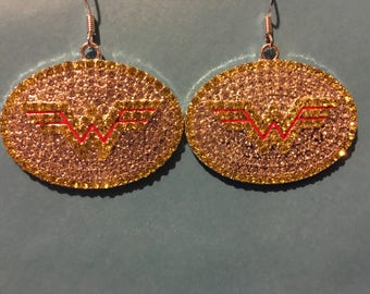 Rhinestone Wonder Woman Earrings   AM10