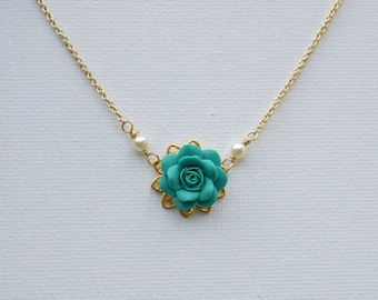Mermaid Teal Green Rose Delicate Necklace. Bradley Delicate Necklace in Mermaid Teal Green Rose