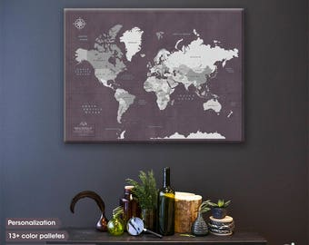 Push Pin Board For Your Travels / The Push Pin Travel Map / World Push Pin map / Push pin world map