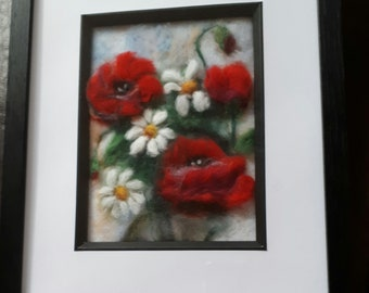 2d needle felted Poppies and daisies picture