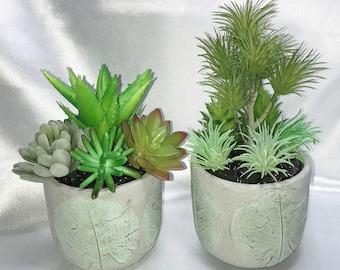 Faux Succulent in Gray Green Cement Planter, Artificial Succulent Arrangement, Modern Arrangement, Succulent Centerpiece, Succulent Gift