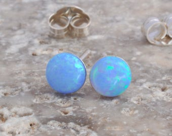 Opal Earrings, Opal Stud Earrings, Blue Opal Stud Earrings, White Opal Stud Earrings, Blue Opal Earrings ,Stud Earrings ,Opal Stud Earrings