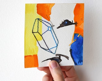 Original watercolor, Original art, Mixed media, Abstract art, Abstract watercolor, Geometric art, Crystal, Mineral, Gem, Stone, Embroidery
