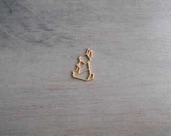 Rabbit origami pendant gold