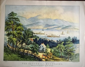 Set of  EIGHT Currier and Ives Lithographs Prints – Full Color reproductions by Donald Art Company – circa 1950