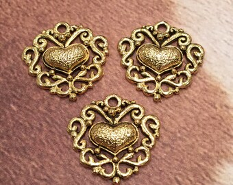 Gold Filagree Heart Charm - 4 pieces-(Antique Gold Finish)-