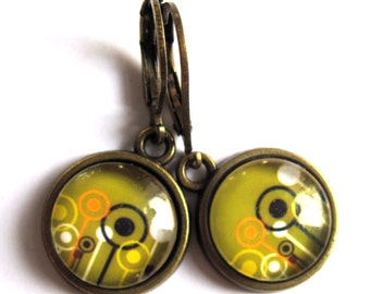 Olive Green Abstract Earrings Glass And Brass Fashion Jewelry