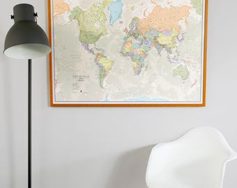 Classic World Map - home decor, living room, bedroom, wall art, vintage map, large world map, push pin map, gift for him, gift for her