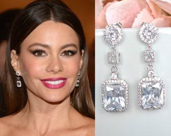 Celebrity Inspired Triple Drop Emerald Cut Cubic Zirconia Dangle Earrings, Bridal, Wedding (Sparkle-1987)