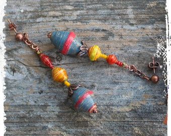 Long paper bead earrings, Multicolor tribal earrings, Paper jewelry, Paper anniversary, Stacked bead earrings, Paper dangle earrings