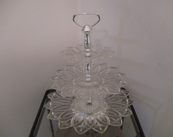 Vintage Three Tier Scalloped Crystalite Candy Dish - Petal Look Edges