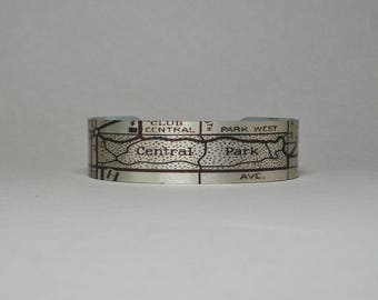Cuff Bracelet Central Park NYC New York Map Unique Gift for Men or Women