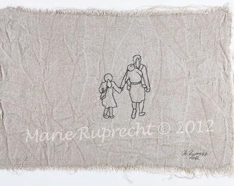 ACCOMPANY : Original Fine Art Embroidery - Fibre Art - Hand Embroidery - Contemporary Embroidery Art