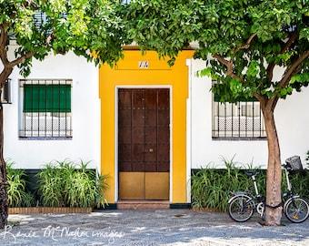 Spain photo, Seville print, large wall art, Spanish decor, street photography, home decor, colorful wall art, yellow green, office decor