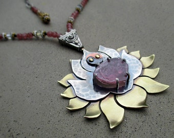 Lotus Blossom Necklace with Watermelon Tourmaline, Heart Chakra Activator, Lotus Flower, Spiritual Symbol, Metalsmithed, Yoga Jewelry